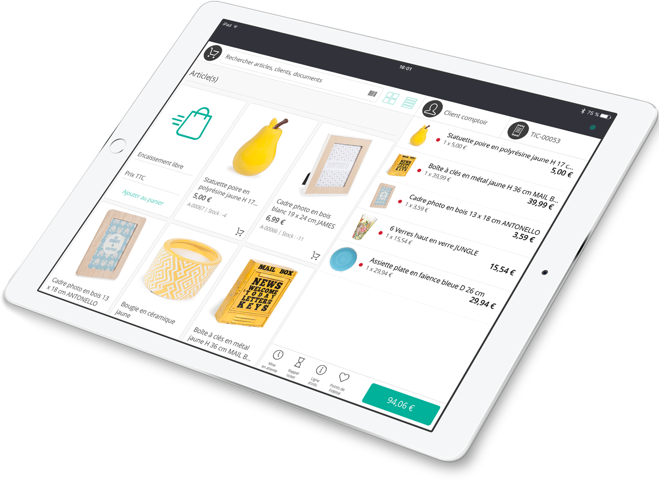 The till app that allows you to sell products on a tablet.